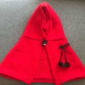 Other - Infant Girls Red Knitted Hoody Poncho